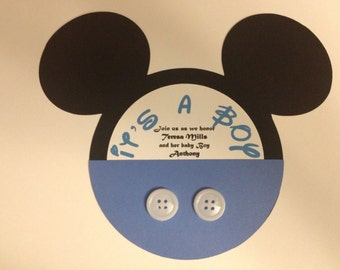 12 MICKEY MOUSE inspired BABY Shower Party Invitations, Envelopes and Labels included