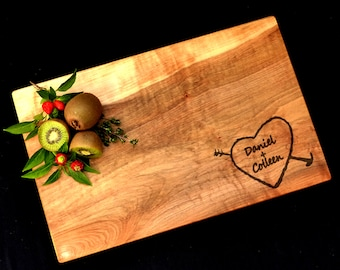 Personalized Cutting Board Spalted Maple Cutting Board Serving Tray Carved Heart Tree Cutting Board Wedding Cutting Board Cheese Board