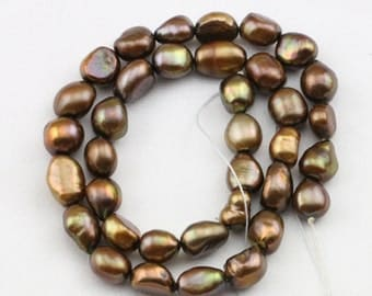 Brown pearl strand,9mm baroque pearl strand,chocolate baroque pearl beads,baroque shaped pearls,0.8mm,1.0mm,1.5mm,2.0mm,2.2mm large holes