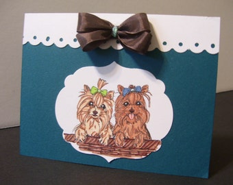 Happy Birthday Card with two cute Yorkie's on the front.