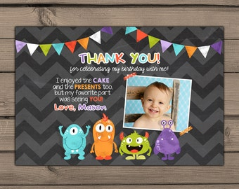 Monster Thank you cards photo Monsters Thank you birthday card Thank you insert Chalkboard chevron Monster birthday PRINTABLE Digital