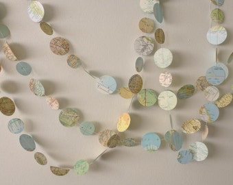 Map Garland - Circles - Travel theme decoration