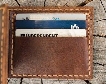 Personalized Hand made genuine leather men thick wallet dark brown heavy duty last long Father's day