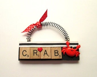Crab Scrabble Tile Ornament