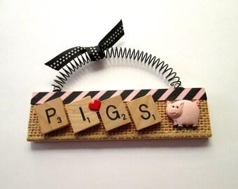 Pigs Love Pigs Scrabble Tile Ornament