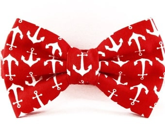 Dog Bow Tie or Flower Collar Combo - Anchors Aweigh - Red