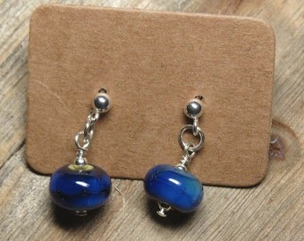 blue swirl sterling silver earrings