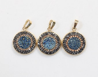 Wholesale Yellow Blue Druzy Pendants With Pave CZ Diamond Zircon Edge Charms YHA-006