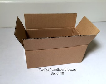 "7""x4""x3"" shipping boxes, set of 10, cardboard boxes, small boxes, brown boxes, corrugated cardboard, mailing boxes, packing boxes, 7x4x3"