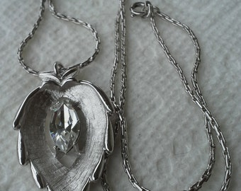 Sarah Coventry 1960's  brushed silver tone, clear crystal stone pendant necklace