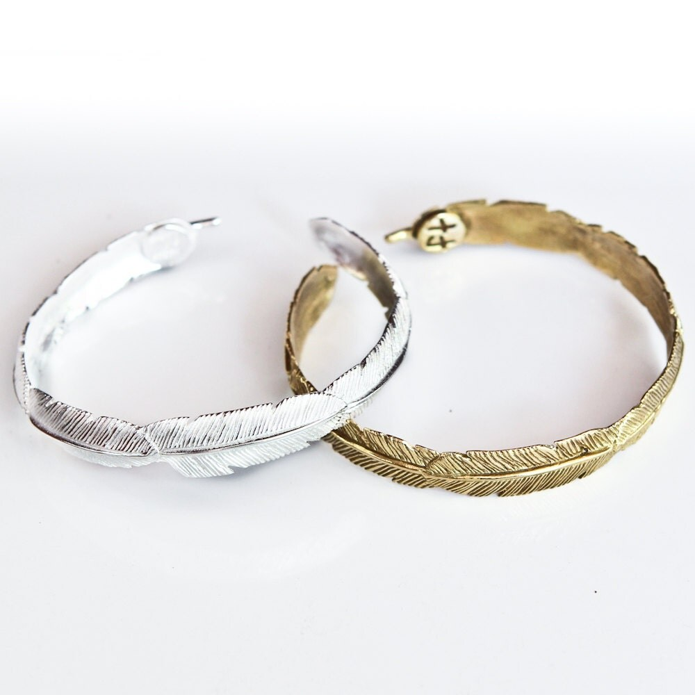 feather bracelet brass and white brass feather tribe