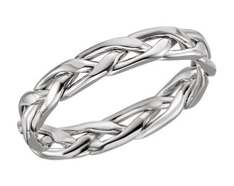 Stunning Wedding Band 3.75 MM Wide Hand Woven Design in Solid 14K White Gold