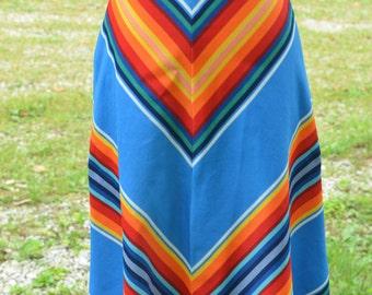70s Rainbow Chevron A-Line Skirt High Waisted Knee Length Polyester