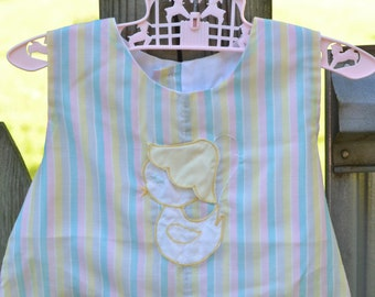 60s Romper Sunsuit Toddler Girl Pastel Stripes Appliqued Chick With Bonnet 2T