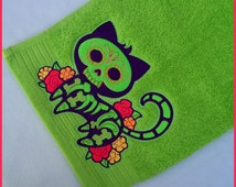 Egyptian cotton, lime green, machine embroidered hand towel, Gato Muerto, skeleton cat, Dia de los Muertos, day of the dead, 20in x 36in.