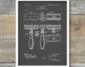 Gillette Razor Patent, Razor Poster, Razor Print, Razor Art, Razor Decor, Razor Wall Art, P82