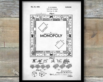 Patent Poster, Monopoly Game Patent Wall Art Poster, Educational Board Game Home Décor, Landlords Game Wall Art, Giclee Art Print, P125