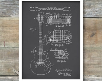Gibson Les Paul Guitar Patent, Gibson Les Paul Guitar Poster, Gibson Les Paul Print, Les Paul Guitar Art, Music Decor, P95