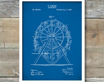 Patent Poster, Ferris Wheel Poster, Ferris Wheel Patent, Ferris Wheel Print, Ferris Wheel Art, Ferris Wheel Blueprint P121