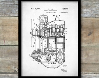Ford Internal Combustion Engine Poster, Internal Combustion Engine Patent, Internal Combustion Engine Print, Engine Art, P94
