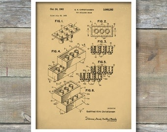 Lego Building Blocks Poster, Lego Building Block Print, Lego Building Blocks Patent, Lego Building Block Art, Lego Building Block Decor, P71