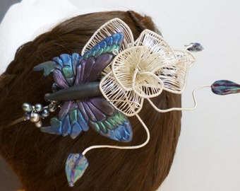 Rose and butterfly fascinator
