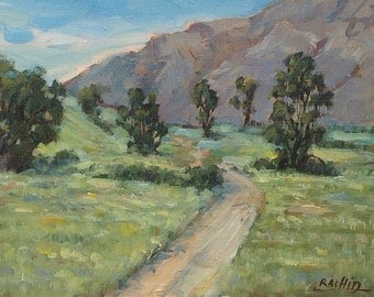 "Original landscape painting, california trees by Rachid Bouhouta 8""x10"" california painting, impressionist landscape art."
