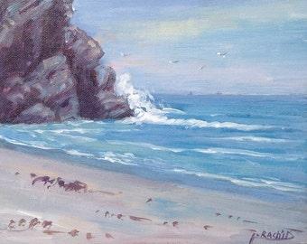 """Pacific coastal beach painting, beach art, california beach painting, 8""""x10"""" ocean art, blue painting."""