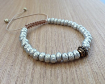 Beaded bracelet Miyuki Baroque Silver with knotted sliding closure