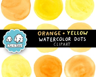 Orange and Yellow Watercolor Dots / Circles Clipart Set for Personal and Commercial Use