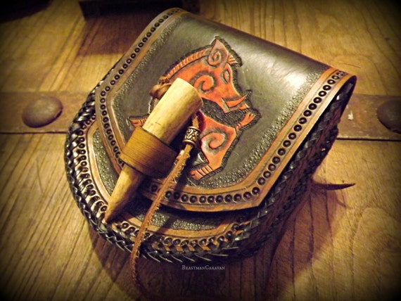 Custom Viking Leather Belt Pouch with Antler Tip Toggle and Celtic / Viking Boar  Design