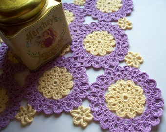 Crochet Lavender and Yellow Doily/ Picot Flower Motifs/Square Mat/12 Inch across edge/ cotton