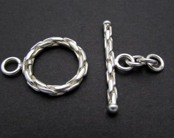 1 Set, 14mm, Sterling Silver Toggle