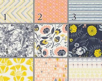 Desert Flowers (Baby Bedding) Peach Navy Crib Bedding. Choose your Design.