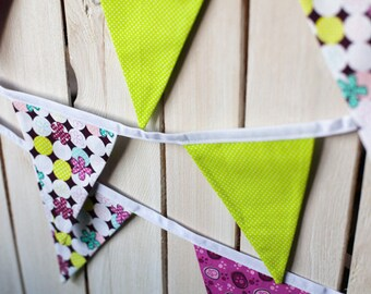 Handmade Bright Coloured Decorative Bunting, 12 Flags, 3m