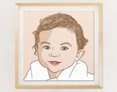 Custom Portrait, 1 person, digital drawing, unique gift for birthday, wedding… !