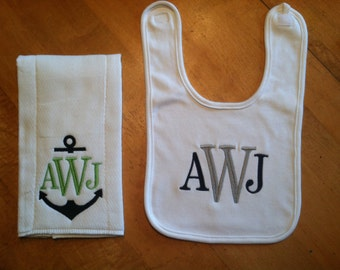 2 piece burp and bib set for baby