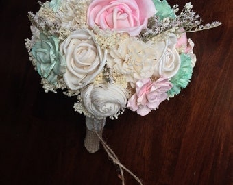 Pink and Mint, Sola Flower Bouquet, Custom Alternative Bouquet, Rustic and Elegant, Wedding Bouquet