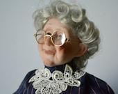 Grandma Doll, Porcelain Doll, Vintage China Doll, Dolls, rare dolls, old woman doll, soft body doll, granny doll, collectible doll,