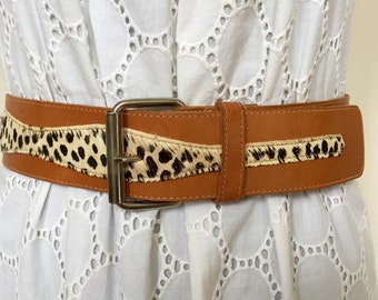Vintage  Genuine Leather Pony Hair Wide Belt Ship Free