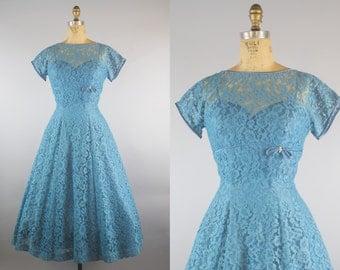 1950s Turquoise Lace Party Dress / 50s Dress / Lace Dress