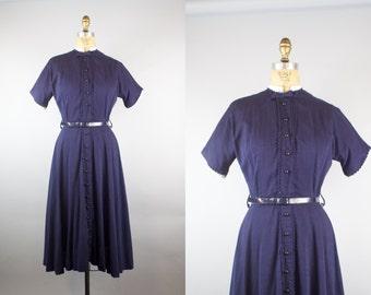 Plain Sailing Dress / 1950s Dress / 50s Navy Blue Dress w