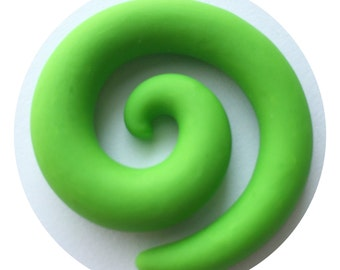 8mm (0g) Lime Green Spirals for Stretched/Gauged Ears