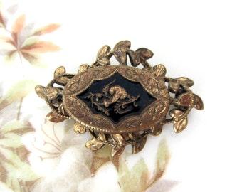 Antique Victorian Taille d'epargne Black Enamel Mourning Brooch
