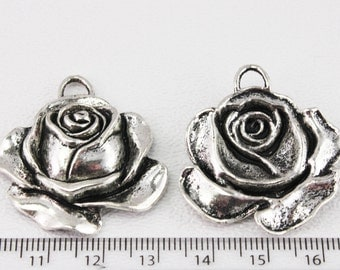 Pewter Rose Charm (5 charms) 36mm