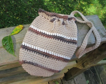 Crocheted purse, small shoulder bag, cotton crochet purse, beige, brown and white stiped purse, lined purse.