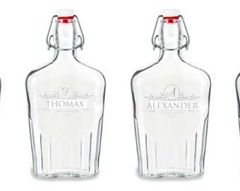 Personalized Glass Whiskey Flask with Swing Top, 17 oz