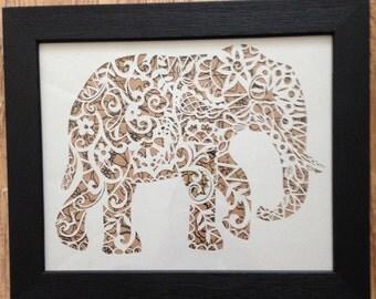Elephant Papercut Template - cut your own - safari - art - nursery design - paper cut - papercutting - animal - a4 - Elephant - pattern -