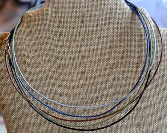 """18"""" Cord Necklace, Cord for Pendants,Woven,Sterling Silver Clasp,Colored Cord, Necklace Cords,Soft Grey,Olive,Denim,Choclate,Black,Pack of 6"""