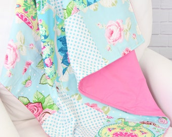 15% OFF SALE - Allie's Pink and Aqua Floral Baby Quilt